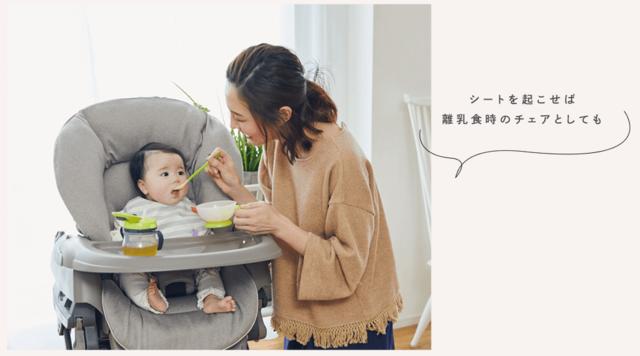 離乳食を食べさせるママと赤ちゃん,