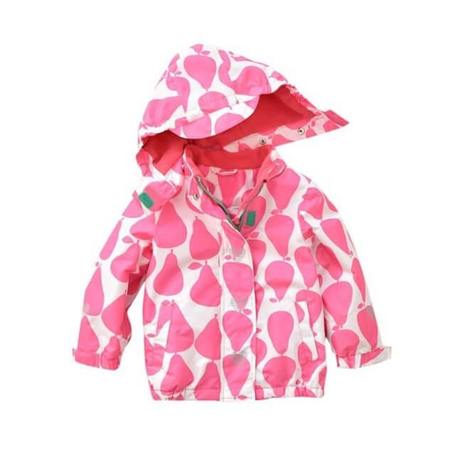 (ウイ カプア) u'i Kapua ドット 梨 柄 フード 付き ウインド ブレーカー ジャケット アウター 女の子 子供服 ( 120 , レッドドット ),キッズ,ウィンドブレーカー,