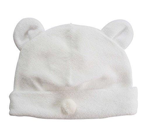 新生児からOK!日本製 ベビー用お帽子 柔らか無撚糸(むねんし)パイル ホワイト,赤ちゃん,帽子,おすすめ