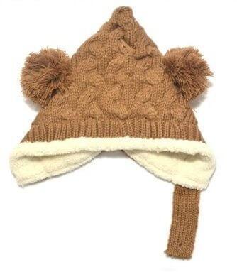 耳まであったか! ベビー ボンボン とんがり ニットキャップ ニット帽 女の子 男の子 赤ちゃん キッズ 子供 ニット 冬 帽子 (ブラウン),赤ちゃん,帽子,おすすめ