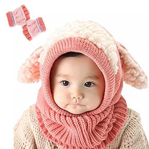 【Yusongirl】子供 用 ニット帽子 うさぎちゃん風 ニット帽 ベビー キッズ 赤ちゃん かわいい &色ランダム防寒グローブ あたたかい手袋セットとして (ピンク),赤ちゃん,帽子,おすすめ