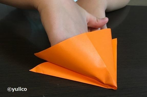 かぼちゃ作り方1,ハロウィン,折り紙,