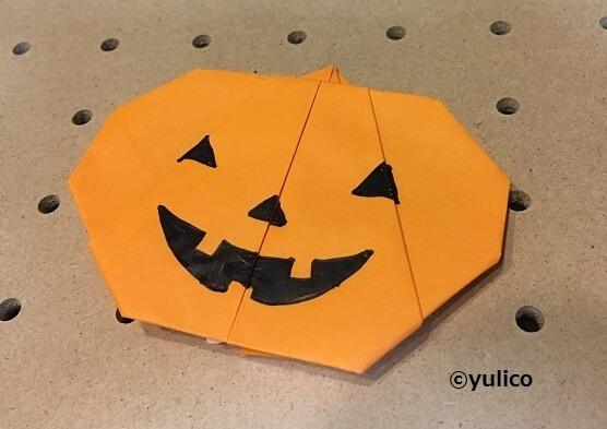 かぼちゃ完成,ハロウィン,折り紙,