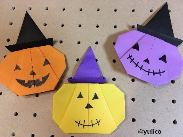 帽子をかぶったかぼちゃ,ハロウィン,折り紙,