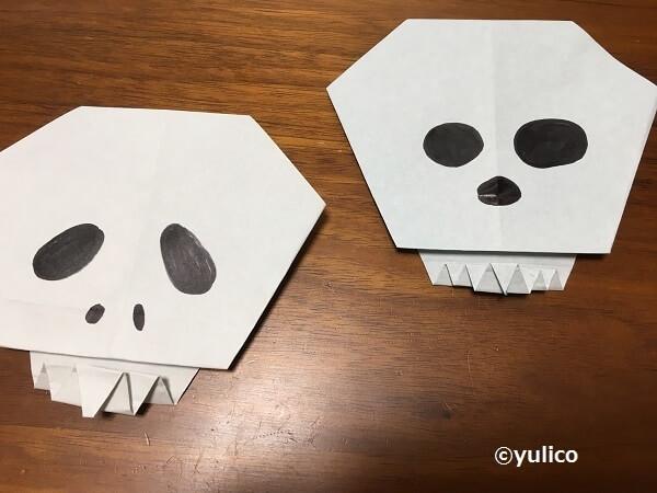 ガイコツ折り紙,ハロウィン,折り紙,