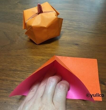 立体かぼちゃ作り方1,ハロウィン,折り紙,