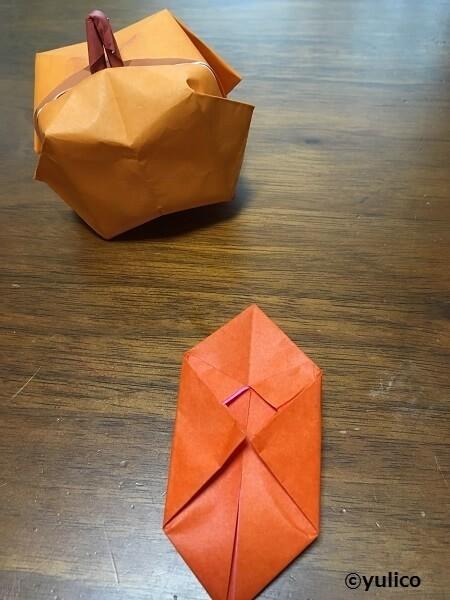 立体かぼちゃ作り方3,ハロウィン,折り紙,