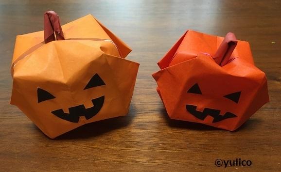 立体かぼちゃアレンジ,ハロウィン,折り紙,
