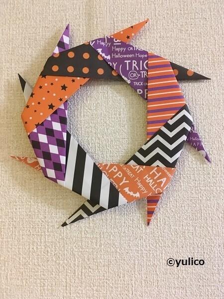 ハロウィンリース,ハロウィン,折り紙,