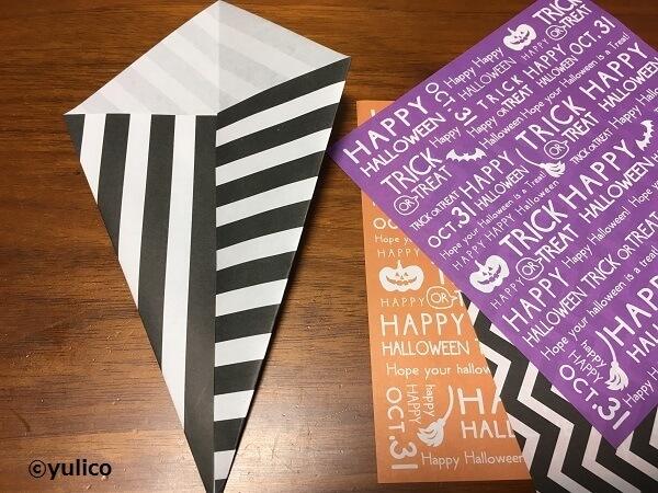 リース作り方1,ハロウィン,折り紙,