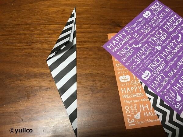 リース作り方2,ハロウィン,折り紙,