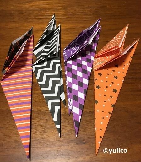 リース作り方3,ハロウィン,折り紙,