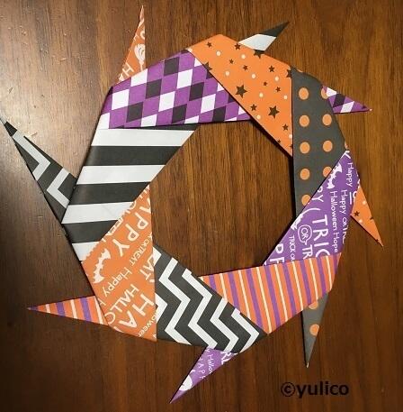 リース作り方5,ハロウィン,折り紙,