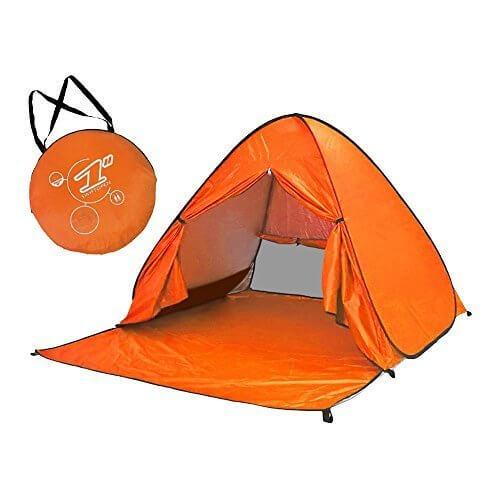 (ディオスン)Diosn ワンタッチテント ビーチテント 2-3人用 日よけテント サンシェードテント UVカット アウトドア キャンプ 165cm幅 (オレンジ-フルクローズ),ワンタッチテント,おすすめ,