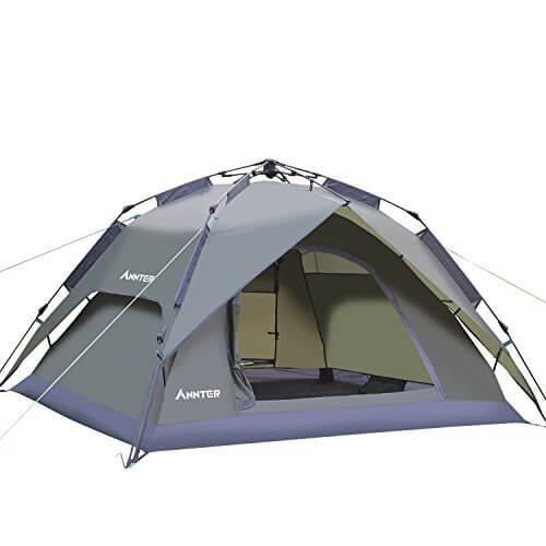 ANNTER ワンタッチテント テント 3~4人用 設営簡単 防災用 2WAY キャンプ用品 撥水加工 紫外線防止 登山 折りたたみ 防水 通気性 アウトドア 秒速設営 3色選択可能 (アーミーグリーン),ワンタッチテント,おすすめ,