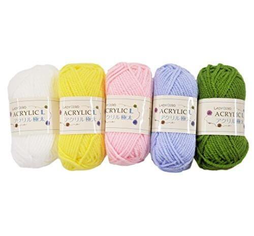 手芸のいとや 毛糸 アクリル毛糸 LADYBIRD ACRYLIC L アクリル極太 パステルカラー 5色セット 約1玉40g巻糸長53M アクリル100%,マフラー,編み物,簡単