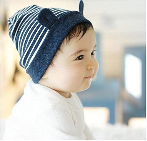 LOTUS LIFE(ロータスライフ) キュートな くまみみ 帽子 ベビー用 (ネイビー),赤ちゃんの帽子,