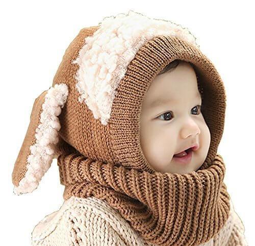 【Ludus Felix】選べるカラー 5色 ウサギちゃん 子羊 ニット帽 ニット帽子 ベビー キッズ 赤ちゃん 子供 用 ケープ 一体型 マフラー ネックウォーマー フード  【ボア部分がふわふわで気持ちいい!】【頭&首まであたたか】 (ブラウン),赤ちゃんの帽子,