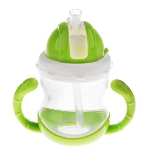 Fenteer ベビーカップ 食品級シリコン ベビーマグ ベビーボトル ストローボトル 全2サイズ 持ちやすい - 緑, 180g,ストロー,練習,