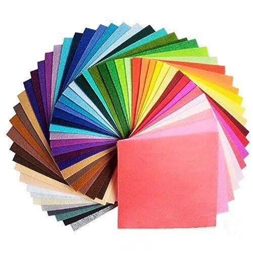 44枚 サイズが選べる カット フェルト ハード 生地 アクリル系繊維 厚さ1mm 不織布 クラフトフェルトマットDIY用 44色セット(10×10cm),ヘアクリップ,作り方,