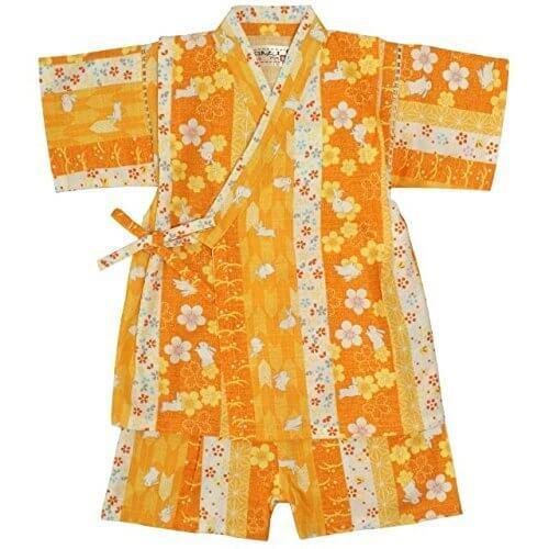 ベビー 甚平 女の子 じんべい うさぎ柄 日本製生地 和柄 綿100% 上下 ベビー服 ウサギ-黄色-9680 90cm,女の子,甚平,人気