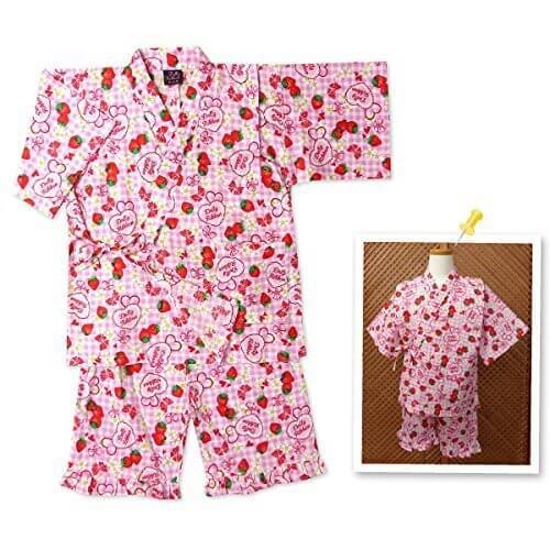 子供服 女の子 甚平 Dolly Ribbon ドーリーリボン イチゴ&ブランドロゴ柄 綿100% 上下組セット 女児 キッズ (ピンク/110cm),女の子,甚平,人気