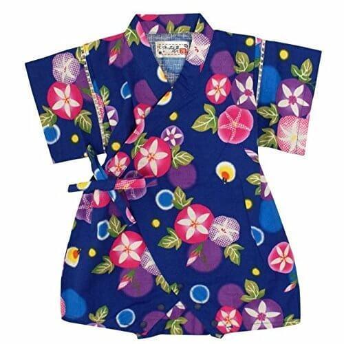 甚平 ロンパース ベビー 女の子 綿100% 日本製生地 グレコ カバーオール 朝顔/紺-9659 80cm,女の子,甚平,人気