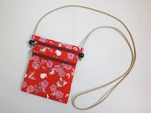着物&浴衣&デニムに 和柄ショルダーバッグ桜楓うさぎ赤,女の子,甚平,人気