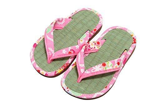 和柄 キッズ 子供 畳 サンダル 雪駄 日本製 ピンク Mサイズ,女の子,甚平,人気