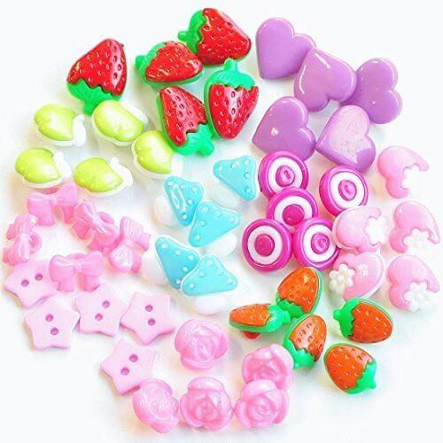 女の子の飾りボタン かわいいプラスチック(プラ)ボタン福袋 10種50個セット【P-20】,幼稚園,帽子,