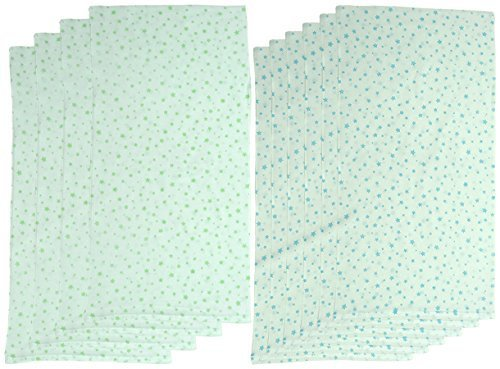 村信 10枚組 ドビー織 星柄 仕立て布おむつ サックス&グリーン TK714 日本製,布おむつ,使い方,