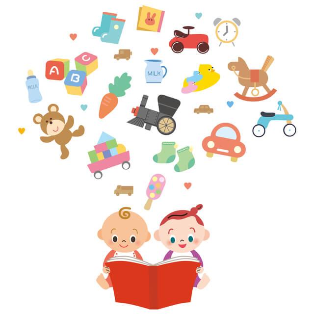 絵本を読む赤ちゃんのイラスト,音の出る絵本,