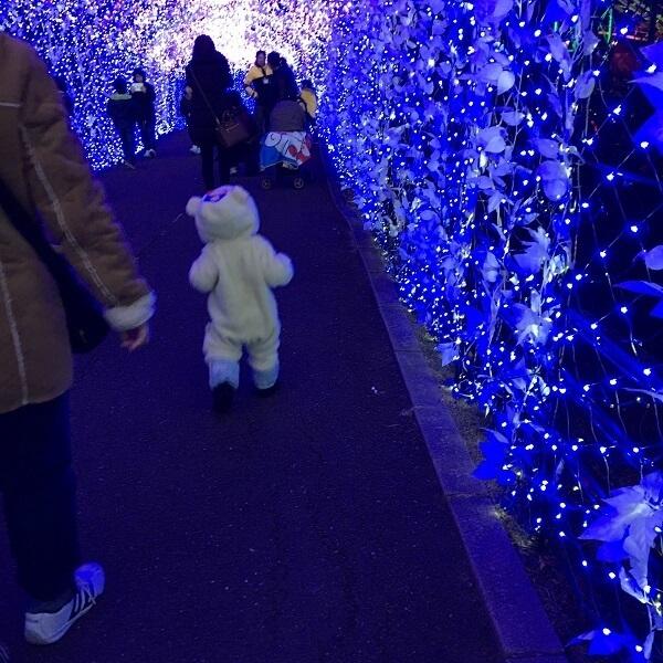 光のトンネルを歩く子ども,ひらかたパーク,アトラクション,