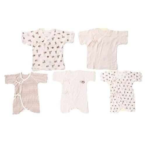 Skip House(スキップハウス) オーガニックコットン ベビー新生児 豪華5枚組 肌着セット 【熊柄】(コンビ肌着 3枚& 短肌着 2枚) 子供服 有機栽培綿100% 出産祝い,ベビー肌着,おすすめ,