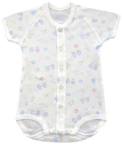 ベビーストーリー フライス総柄プリント 半袖前開きコンビシャツ 70cm サックス KT15502 日本製,ベビー肌着,おすすめ,