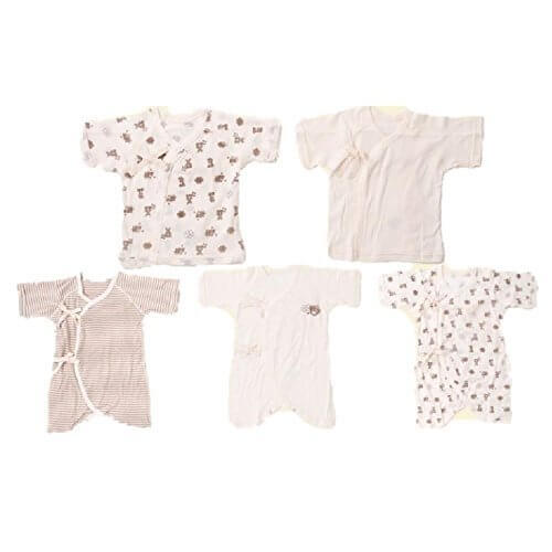 Skip House(スキップハウス) オーガニックコットン ベビー新生児 豪華5枚組 肌着セット 【熊柄】(コンビ肌着 3枚& 短肌着 2枚) 子供服 有機栽培綿100% 出産祝い,新生児,短肌着,