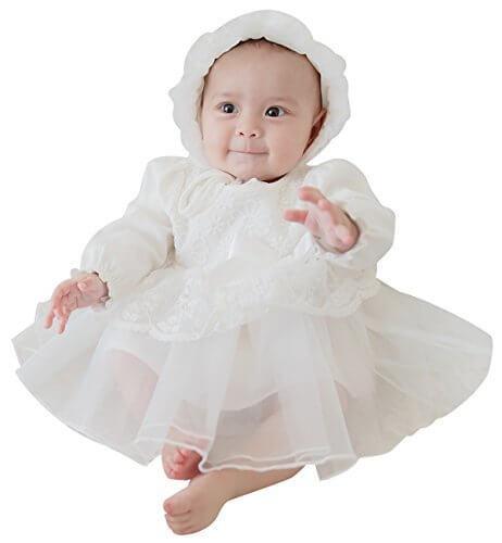 Mikistory セレモニードレス 新生児 女の子 ベビードレス お宮参り 結婚式 退院着 出産祝い ギフト用 ホワイト 長袖 帽子付き 66,ベビー,セレモニードレス,