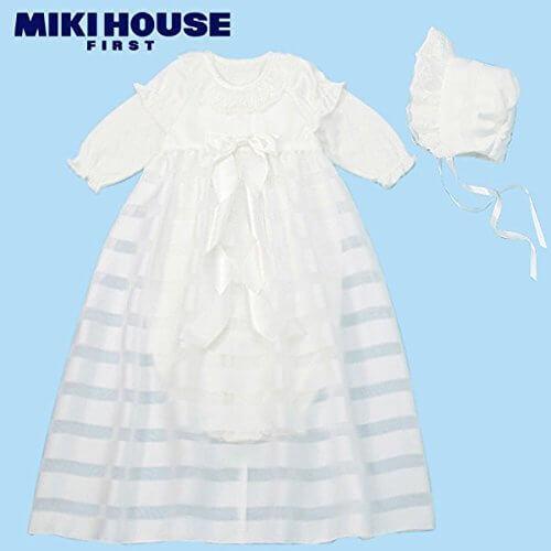 MIKIHOUSE FIRST(ミキハウスファースト)華やかサテンコートのセレモニードレス箱付3点セット フリー,白,ベビー,セレモニードレス,
