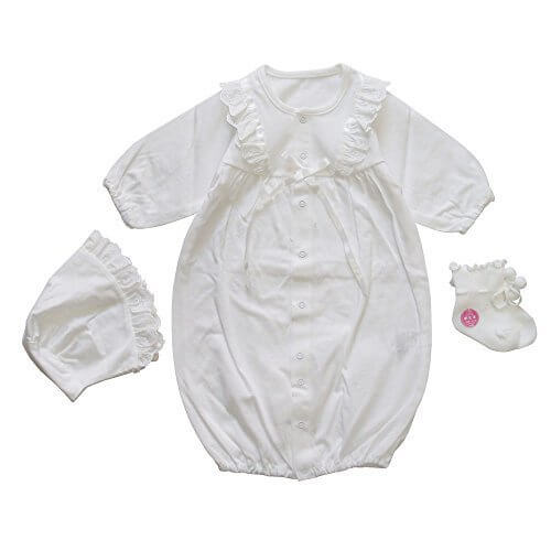 fec85c53e1150 夏物素材 3点セット スクエアデザイン 日本製 新生児ベビー用セレモニードレス お宮参り