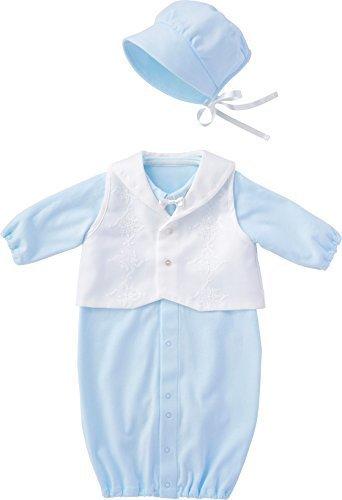 犬印本舗 INUJIRUSHI Baby 日本製 ベスト付ドレス&カバーオール 50cm - 60cm サックス B246008,ベビー,セレモニードレス,