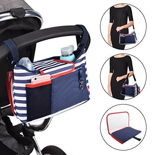 Safe&Care ベビーカー用バッグ ドリンクホルダー付き 多機能小物入れ おむつ交換用マット付き 多数のベビーカーに取り付けられる,ベビーカー,ボトルホルダー,おすすめ