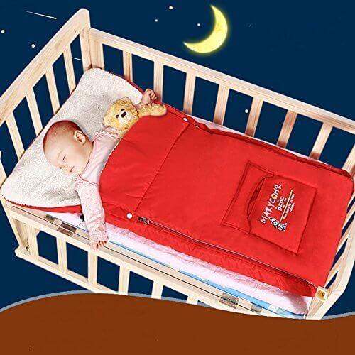 TuoHai 3WAYフットマフ 多機能 暖かい 赤ちゃん 寝袋 ベビーカー用 ポカポカ 厚手 フットマフ 防寒 布団蹴り防止 寝冷え対策 お出かけ用 (赤),ベビーカー,フットマフ,