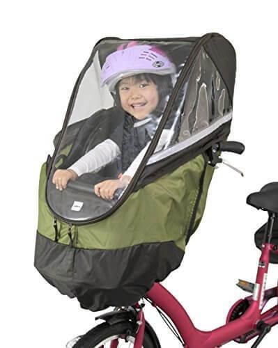 アイデス (ides) チャイルドシート レインカバー フロント用 前用 自転車 保育園 幼稚園 子乗せ 子ども乗せ 同乗器 梅雨 雨よけ 防風 装着かんたん おしゃれなデザイン ブラウン/カーキ,自転車,防寒,