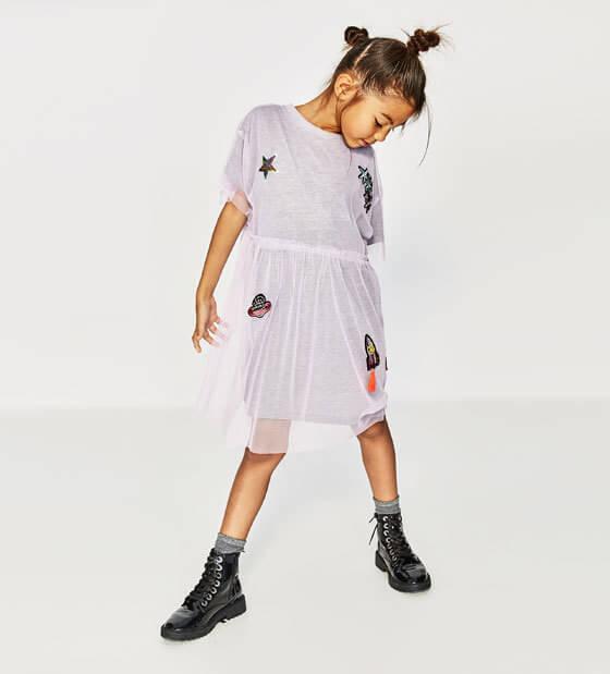 アップリケ付きチュールドレス,子供服,ブランド,女の子