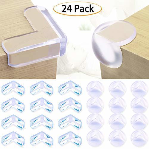 コーナークッション コーナー ガード透明 24個セット(L型12個、丸型12個) 赤ちゃん・子供・年配の方ケガ防止 保育園 安全対策 家具の角を保護 3M両面テープ貼り付き,コーナーガード,