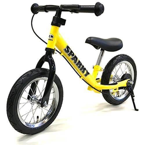 《プロテクタープレゼント》【組立済】【キックスタンド付き】 ブレーキ付ゴムタイヤ装備 ペダルなし自転車 キッズバイク SPARKY (YELLOW),ペダルなし,自転車,
