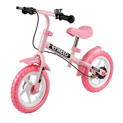 enkeeo ペダルなし自転車 バランス感覚養成 軽量 コンパクト ハンドルとサドルの高さ調整可 2歳~6歳子供用 スポーツモデル 1004【メーカー保証】(ブレーキ付き, ピンク),ペダルなし,自転車,