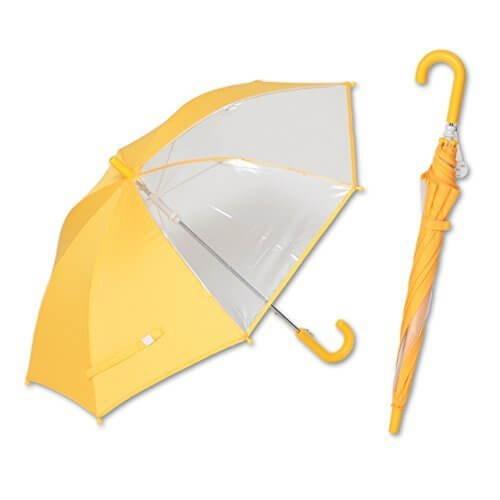 前が見える! キッズ 手開き傘 子供 傘 黄色 窓付き【LIEBEN-0622】 (透明×イエロー),小学校,入学準備,