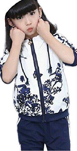 (ジョイフルマート)Joyful Mart ジャージ キッズ ジュニア 用 スポーツ ウエア 長袖 上下 セット 女の子 子供用(120-ネイビー),キッズ,ジャージ,