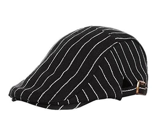 (コネクタイル) Connectyle ハンチング帽子 キッズ 秋冬 アイビー 帽子 お洒落 ハンチング 子供 ストライプ柄 ウール フラット キャップ 調整可能 ブラック,子ども,帽子,